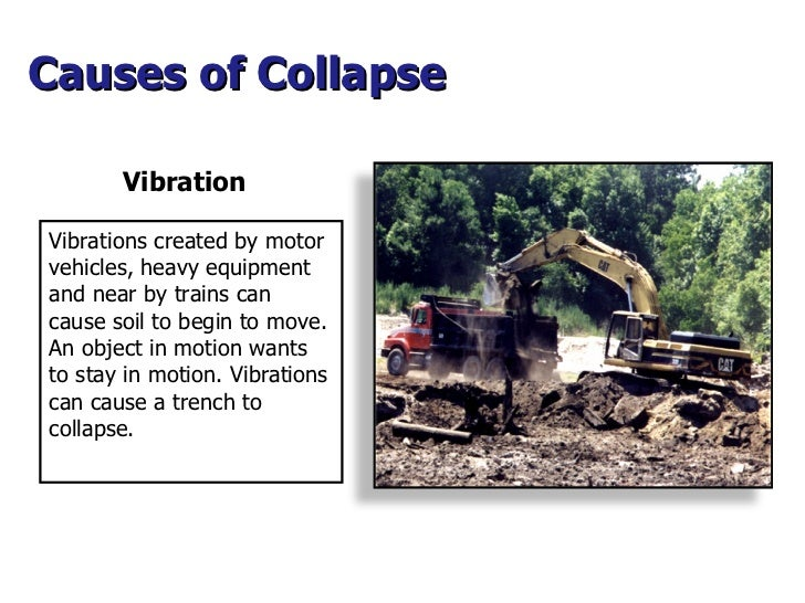 Vibration Causes of Collapse  Vibrations created by motor vehicles, heavy equipment and near by trains can cause soil to b...