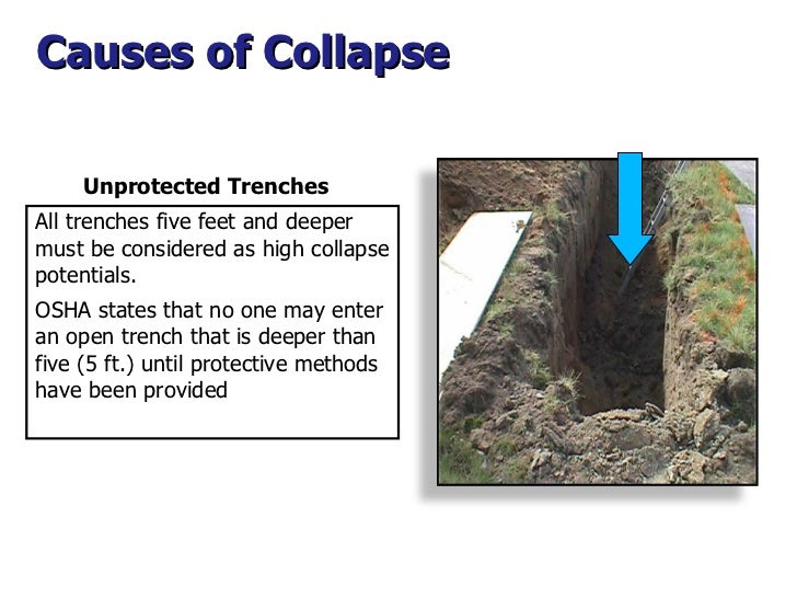 Causes of Collapse  All trenches five feet and deeper must be considered as high collapse potentials. OSHA states that no ...