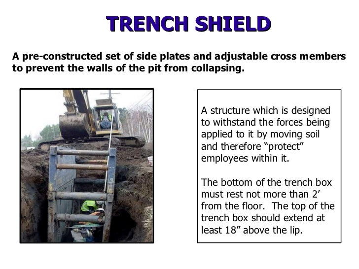 X   TRENCH SHIELD A pre-constructed set of side plates and adjustable cross members to prevent the walls of the pit from c...