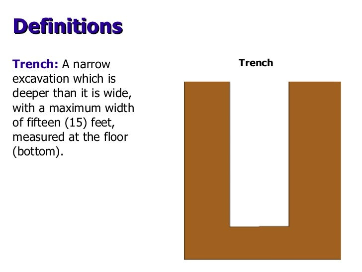 Trench:  A narrow excavation which is deeper than it is wide, with a maximum width of fifteen (15) feet, measured at the f...