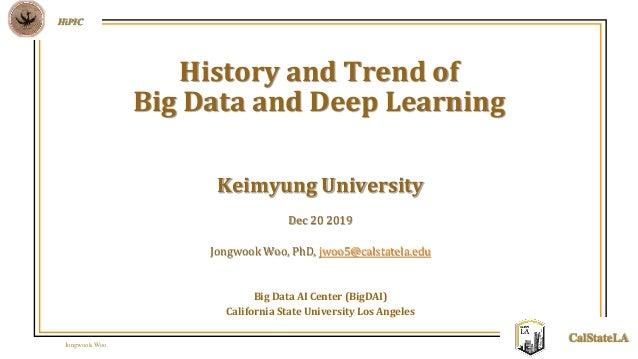 Jongwook Woo HiPIC CalStateLA Keimyung University Dec 20 2019 Jongwook Woo, PhD, jwoo5@calstatela.edu Big Data AI Center (...