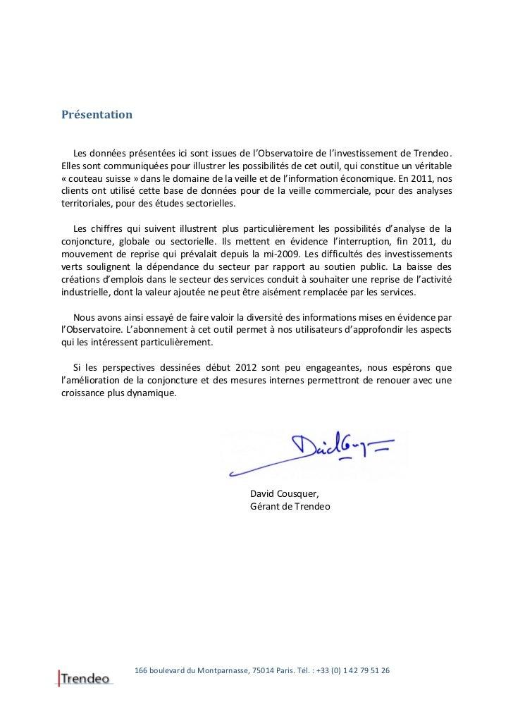 L'investissement en France en 2011 à travers l'observatoire de l'investissement de Trendeo Slide 3