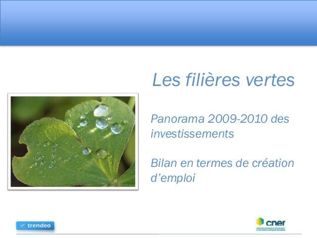 Les filières vertes Panorama 2009-2010 des investissements Bilan en termes de création d'emploi