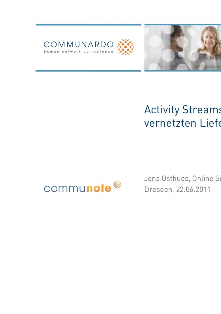 Activity Streams in dervernetzten LieferketteJens Osthues, Online ServicesDresden, 22.06.2011