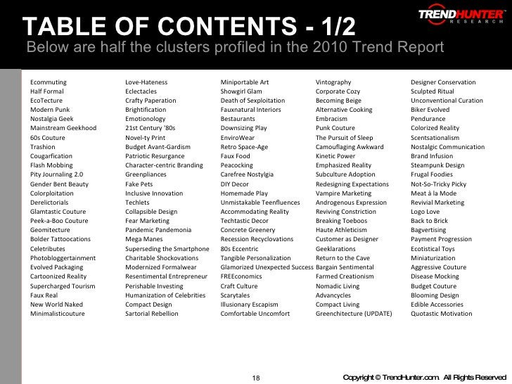 TABLE OF CONTENTS - 1/2  Below are half the clusters profiled in the 2010 Trend Report Ecommuting Love-Hateness Miniportab...