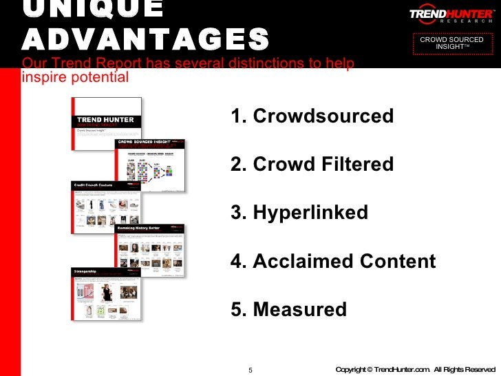 UNIQUE ADVANTAGES Our Trend Report has several distinctions to help inspire potential 1. Crowdsourced 2. Crowd Filtered 3....