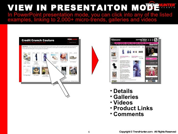 VIEW IN PRESENTAITON MODE In PowerPoint presentation mode, you can click into any of the listed examples, linking to 2,000...
