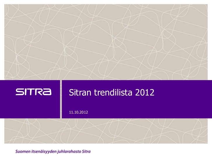 Sitran trendilista 201211.10.2012