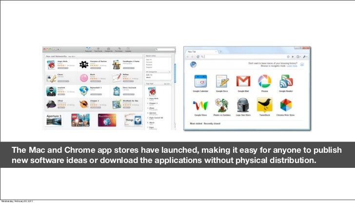 The Mac and Chrome app stores have launched, making it easy for anyone to publish          new software ideas or download ...