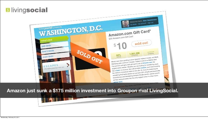 Amazon just sunk a $175 million investment into Groupon rival LivingSocial.Friday, February 18, 2011