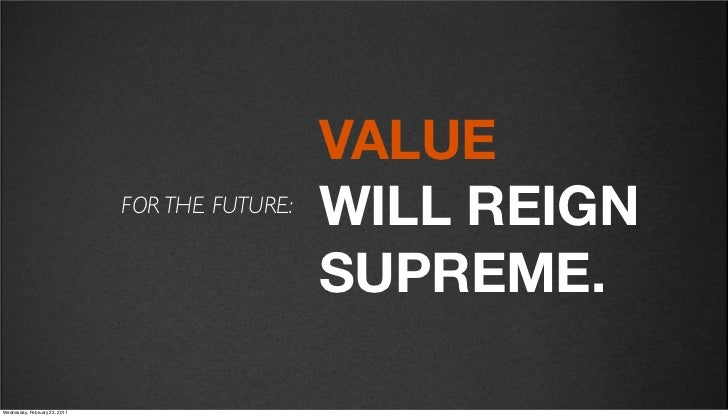 v27                                              VALUE                            FOR THE FUTURE:                         ...