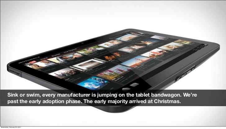 Sink or swim, every manufacturer is jumping on the tablet bandwagon. We're          past the early adoption phase. The ear...