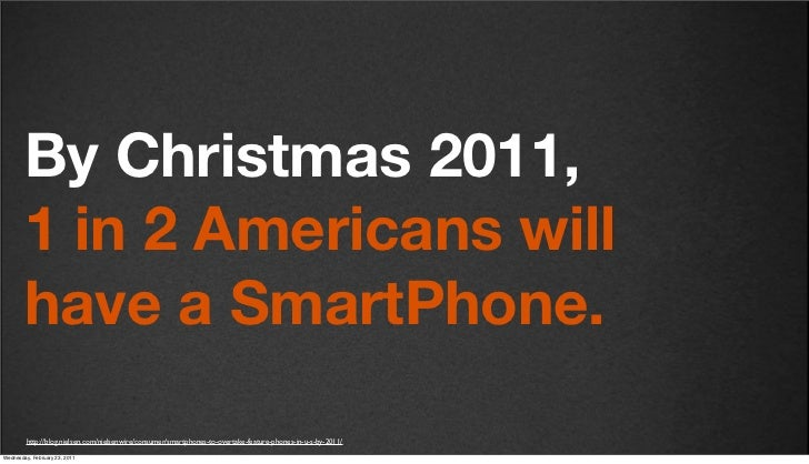 v27        By Christmas 2011,        1 in 2 Americans will        have a SmartPhone.         http://blog.nielsen.com/niels...