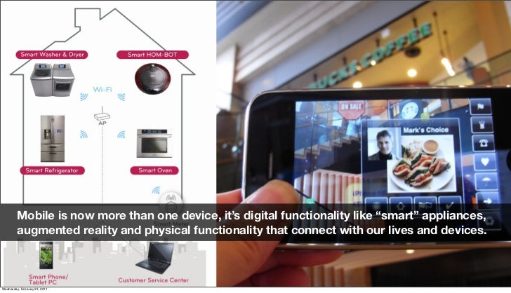 """Mobile is now more than one device, it's digital functionality like """"smart"""" appliances,          augmented reality and phy..."""