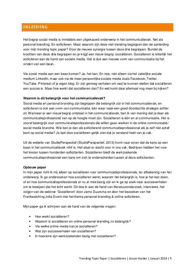 inleiding open sollicitatie Paper over socialiteren: de moderne vorm van solliciteren! inleiding open sollicitatie