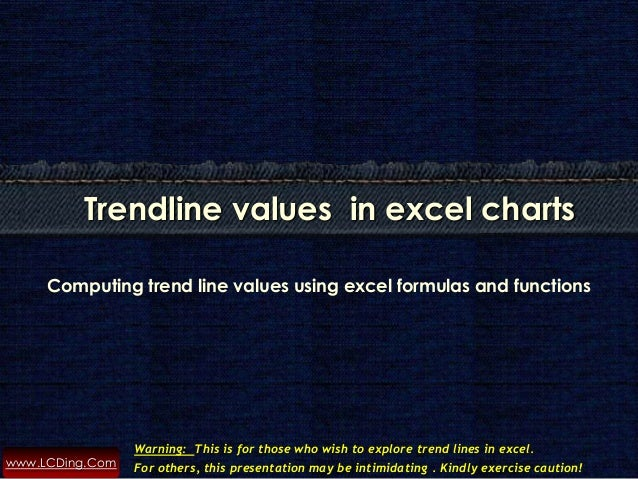 www.LCDing.Com Computing trend line values using excel formulas and functions Trendline values in excel charts Warning: Th...