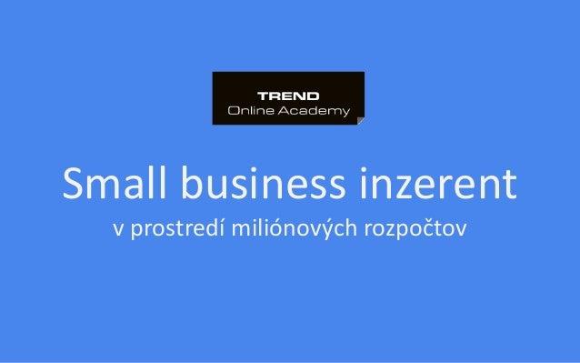 Small business inzerent v prostredí miliónových rozpočtov