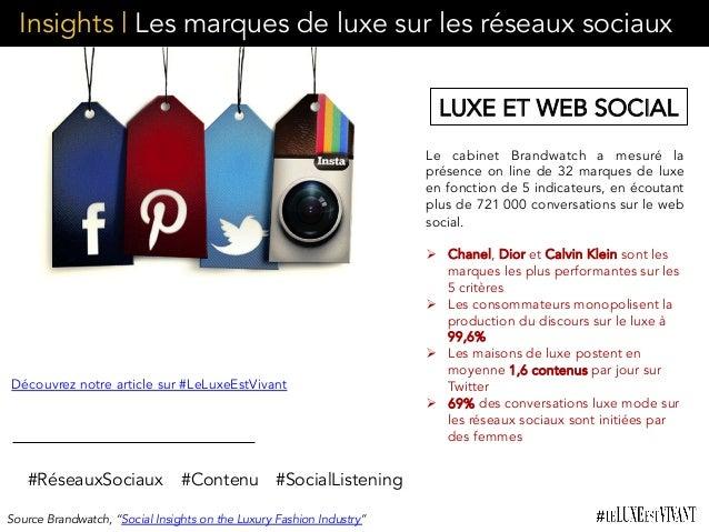 Insights | Les marques de luxe sur les réseaux sociaux Le cabinet Brandwatch a mesuré la présence on line de 32 marques de...