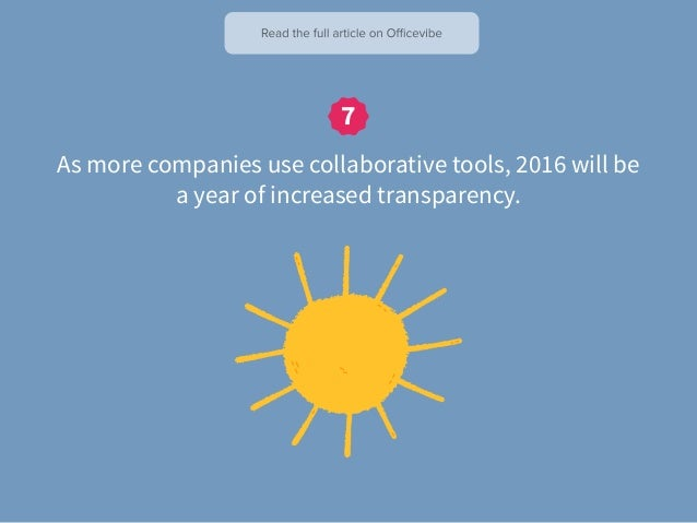 As more companies use collaborative tools, 2016 will be a year of increased transparency.