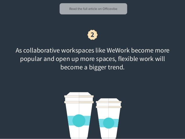 As collaborative workspaces like WeWork become more popular and open up more spaces, flexible work will become a bigger tr...