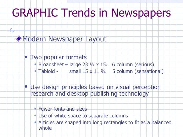 GRAPHIC Trends in Newspapers <ul><li>Modern Newspaper Layout </li></ul><ul><ul><li>Two popular formats  </li></ul></ul><ul...