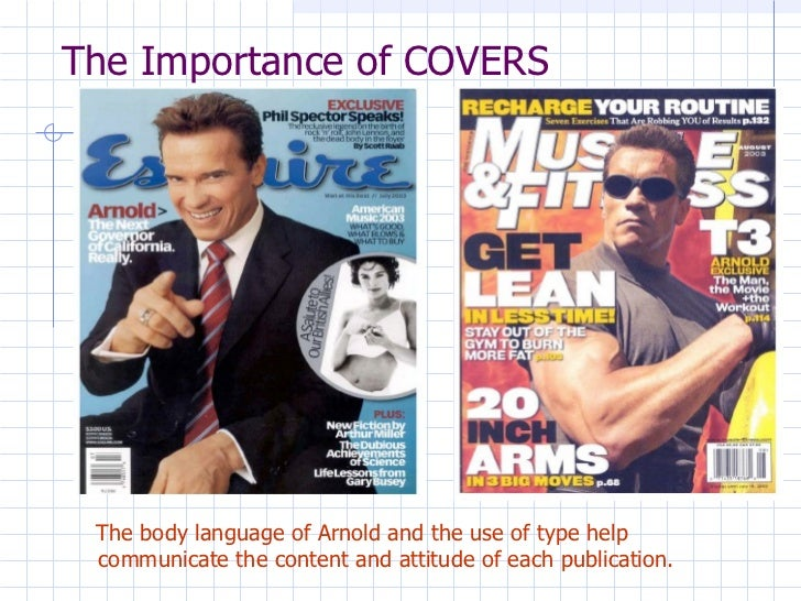 The Importance of COVERS <ul><li>The body language of Arnold and the use of type help communicate the content and attitude...