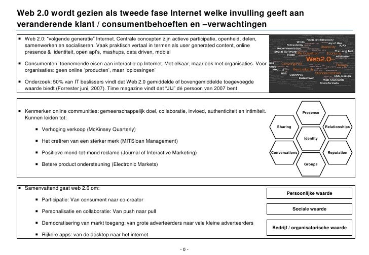 Web 2.0 wordt gezien als tweede fase Internet welke invulling geeft aan veranderende klant / consumentbehoeften en –verwac...
