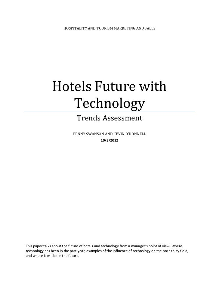 HOSPITALITY AND TOURISM MARKETING AND SALES                Hotels Future with                   Technology                ...