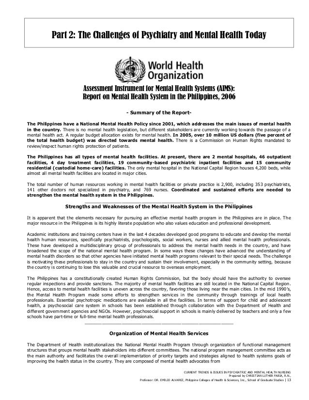 mental health nursing in the filipino Filipino families greatly influence patients' decisions about health care • difficulty in utilizing mental health services health behaviors health.