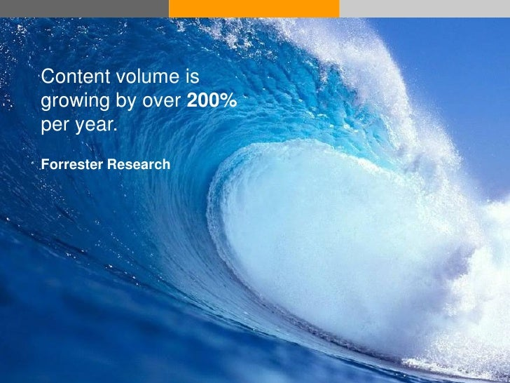 Content volume is growing by over 200% per year. Forrester Research     © Acando AB