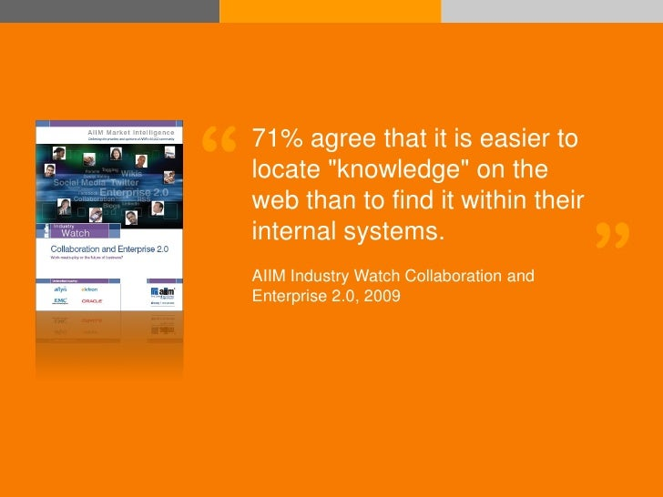 """""""   71% agree that it is easier to                   locate """"knowledge"""" on the                   web than to find it withi..."""