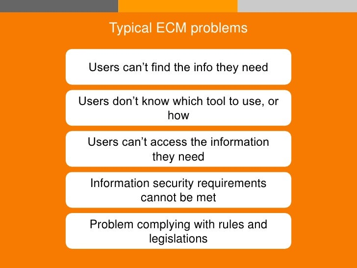 Typical ECM problems                 Users can't find the info they need                Users don't know which tool to use...