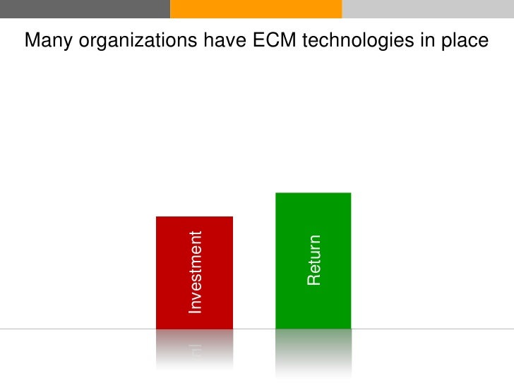 Many organizations have ECM technologies in place                      Investment                                   Return...