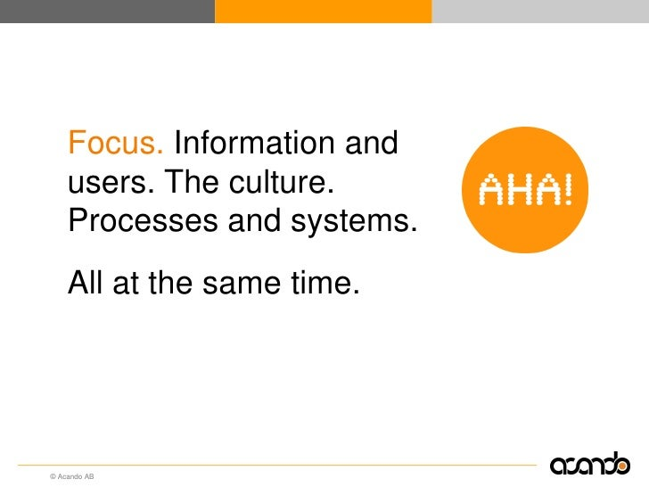 Focus. Information and     users. The culture.     Processes and systems.     All at the same time.     © Acando AB