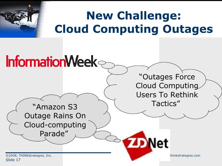 "New Challenge: Cloud Computing Outages ©2008, THINKstrategies, Inc.  www.thinkstrategies.com Slide  "" Amazon S3 Outage Rai..."
