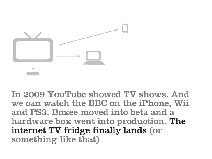 In 2009 YouTube showed TV shows. And we can watch the BBC on the iPhone, Wii and PS3. Boxee moved into beta and a hardware...