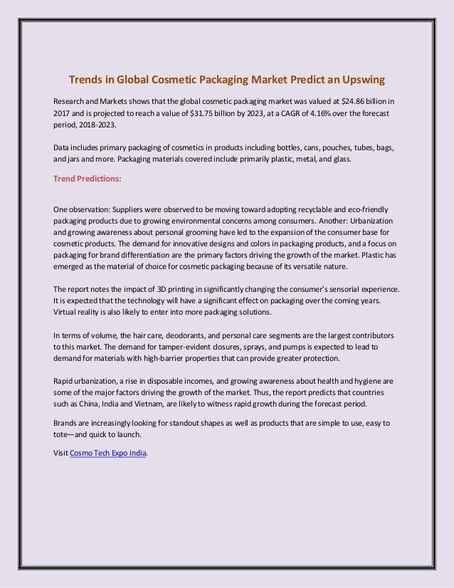 Trends in Global Cosmetic Packaging Market Predict an