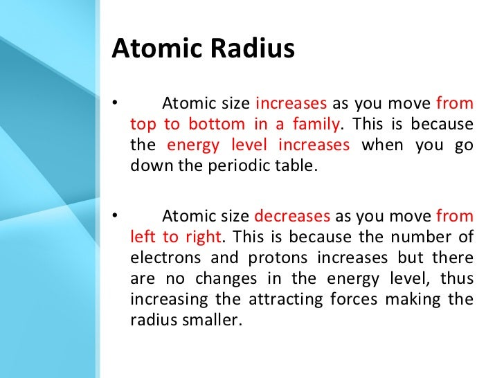 trends in the periodic table - Periodic Table As You Move Down
