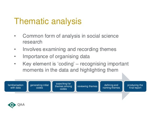 • Common form of analysis in social science research • Involves examining and recording themes • Importance of organising ...