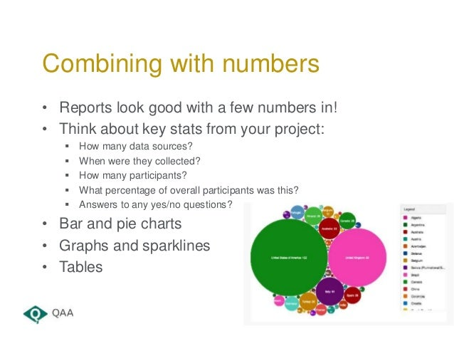 • Reports look good with a few numbers in! • Think about key stats from your project:  How many data sources?  When were...