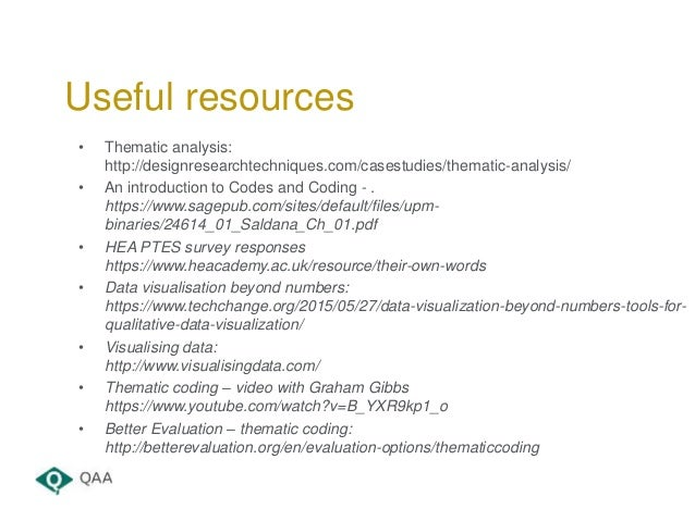 • Thematic analysis: http://designresearchtechniques.com/casestudies/thematic-analysis/ • An introduction to Codes and Cod...