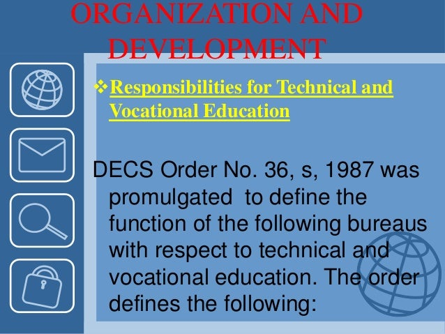 ORGANIZATION AND DEVELOPMENT Responsibilities for Technical and Vocational Education DECS Order No. 36, s, 1987 was promu...