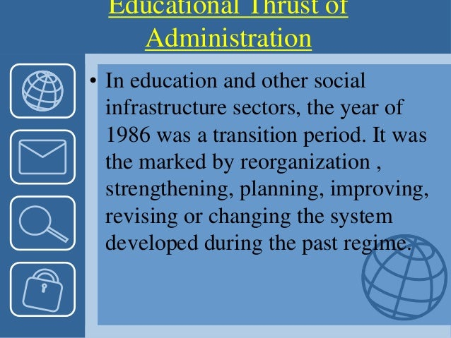 • In education and other social infrastructure sectors, the year of 1986 was a transition period. It was the marked by reo...