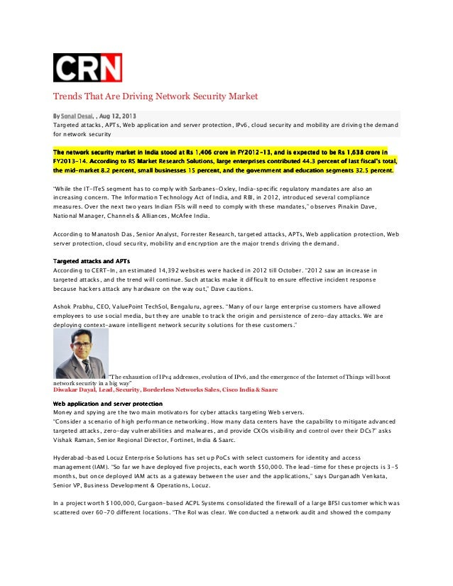 Trends That Are Driving Network Security Market ByByByBy Sonal DesaiSonal DesaiSonal DesaiSonal Desai, , Aug 12, 2013, , A...
