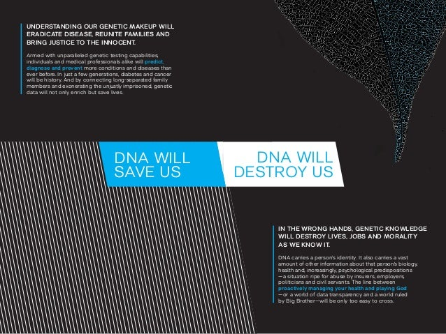 DNA WILL  DESTROY US  IN THE WRONG HANDS, GENETIC KNOWLEDGE  WILL DESTROY LIVES, JOBS AND MORALITY  AS WE KNOW IT.  DNA ca...