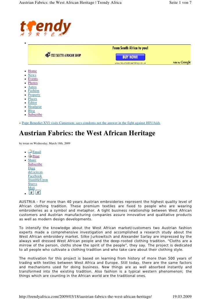 Austrian Fabrics: the West African Heritage | Trendy Africa                                      Seite 1 von 7          ...