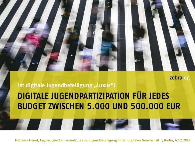 """DIGITALE JUGENDPARTIZIPATION FÜR JEDES BUDGET ZWISCHEN 5.000 UND 500.000 EUR Ist digitale Jugendbeteiligung """"Luxus""""? Matth..."""