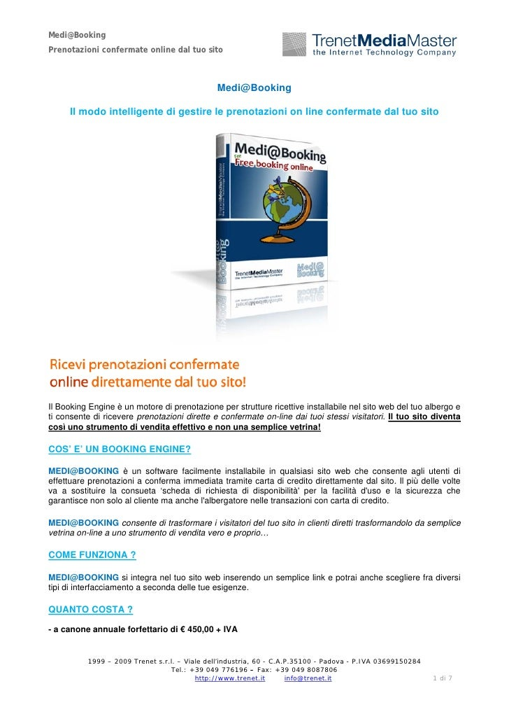 Trenet medi booking software di prenotazione online per for Software di architettura gratuito online
