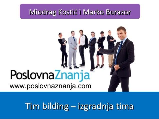 www.poslovnaznanja.com Miodrag Kostić i Marko BurazorMiodrag Kostić i Marko Burazor Tim bilding – izgradnja timaTim bildin...