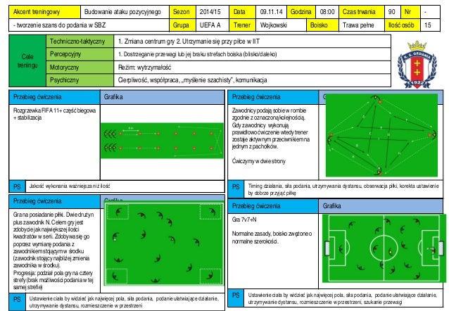 Sezon  2014/15  Data  09.11.14  Godzina  08:00  Czas trwania  90  Nr  -  Grupa  UEFA A  Trener  Wojkowski  Boisko  Trawa p...